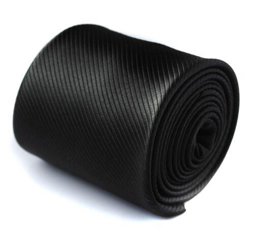 Frederick Thomas plain black striped tie FT436 funeral