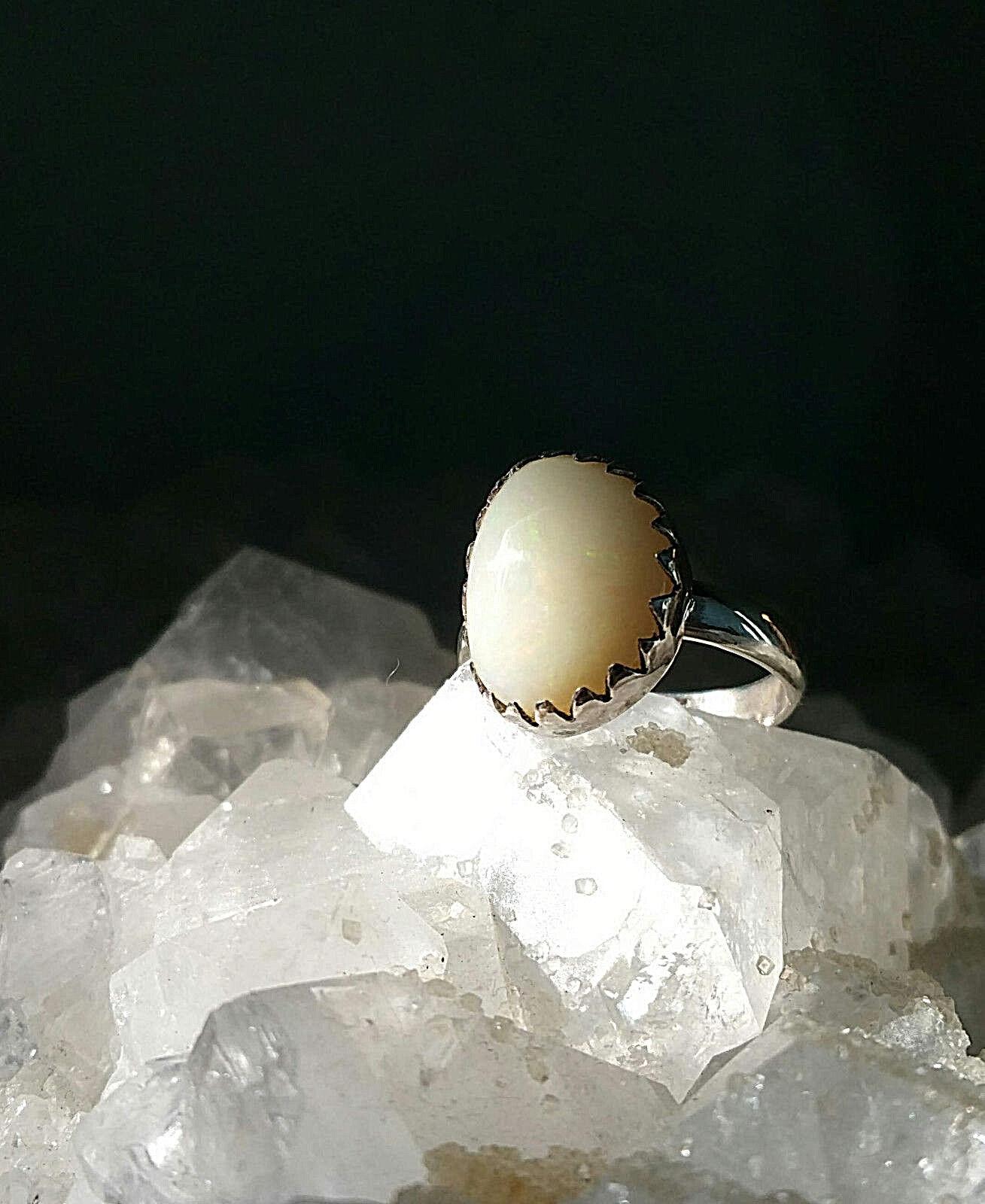 Opale biancahe Welo d'Éthiopie sur bague argento sterling 925 925 925 Dimensione 53 - 15 Ct c8bc24