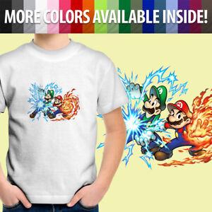 Toddler Kids Tee Youth T-Shirt Gift Printed Mario Luigi Power Up Fireball