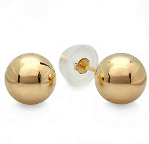 Solid-14k-Yellow-Gold-Ball-3-10mm-Stud-Earrings-w-Silicone-Covered-Gold-Backs
