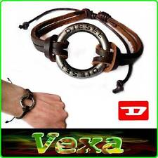 New DIESEL Bracelet RING Genuine Leather Brown Bangle Wristband Men's Surf BD27