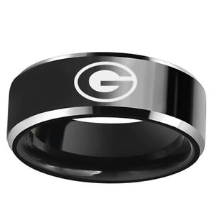 Green-Bay-Packers-Football-Team-Black-Stainless-Steel-Mens-Band-Ring-Size-6-13