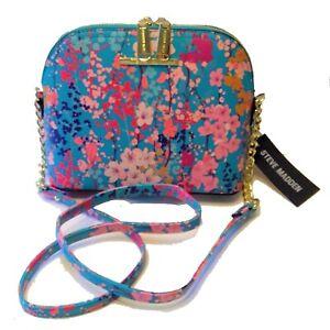 STEVE MADDEN Turquoise Blue Floral Crossbody Bag Gold Chain Shoulder Handbag NWT