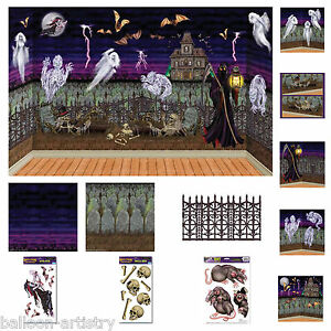 halloween horror spooky graveyard scene setter add on decorations one listing ebay. Black Bedroom Furniture Sets. Home Design Ideas