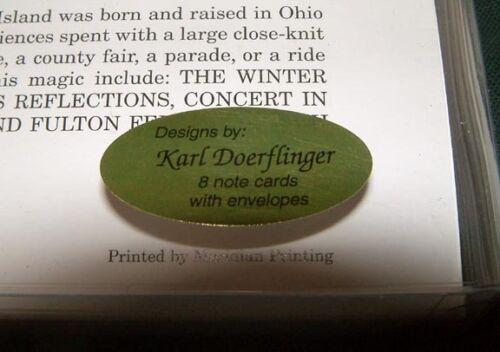 "NOTECARDS by Karl Doerflinger /""CONCERT IN THE PARK/"" Box of 8 NOSTALGIC R.I"