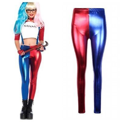 New Women/'s Ladies Harley Quinn Suicide Squad Harlequin Metallic Shiny Leggings