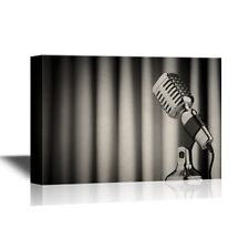 wall26 - Music Canvas - Vintage Microphone Against the Backdrop Curtain - 24x36