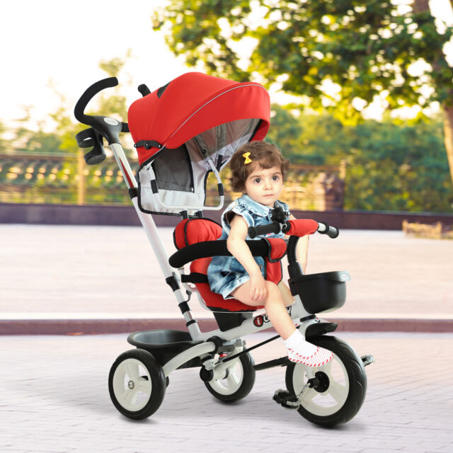 Homcom 4 In 1 Baby Tricycle Folding Stroller Kids Trike Detachable W Canopy Red