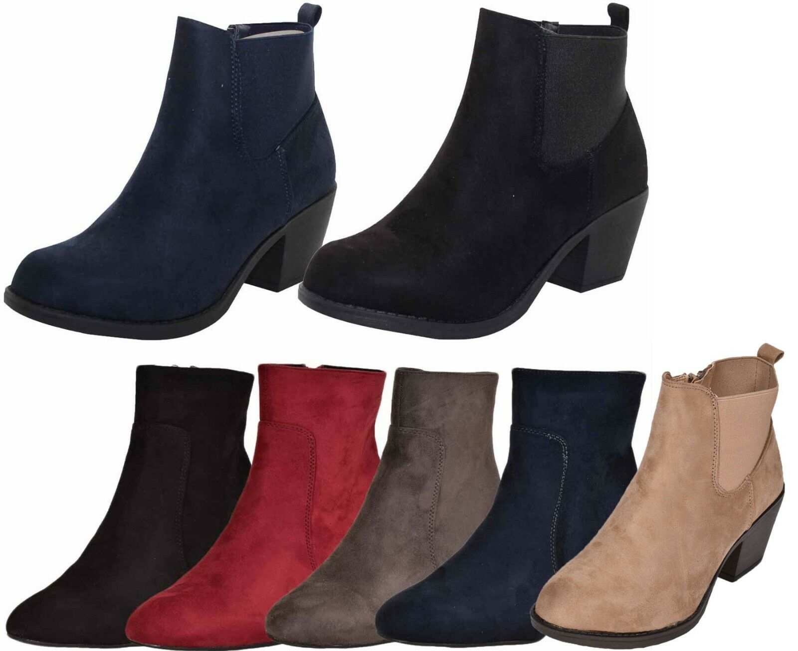 Emma Womens Ankle Boots Faux Suede Ladies Chelsea Medium Heel Causal shoes