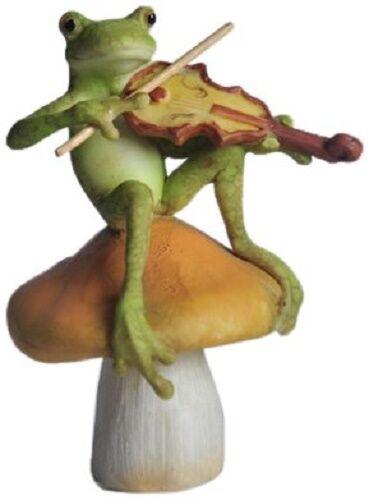 "3.5"" Frog Playing Fiddle Fairy Garden Terrarium Dollhouse Miniature Small Animal"
