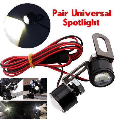 Pair White Spotlight Motorcycle Headlight Daytime Running Light Driving Fog Lamp
