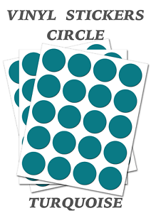 150 Round Turquoise  Circles Self Adhesive Waterproof Vinyl Labels  size 15mm