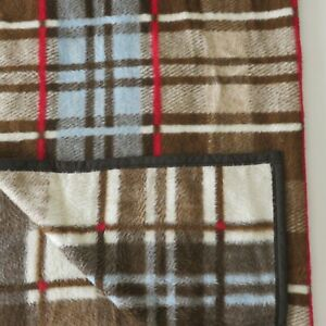Biederlack-Blue-Brown-Plaid-Stripes-Throw-Lap-Blanket-60-x-81-Made-in-USA
