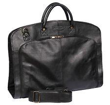Genuine LEATHER SUIT Carrier Bag Black Dress abbigliamento riguardano Viaggi Borsa Cabina NUOVO