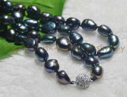 """Genuine Natural 9-10MM Black Cultured Baroque Pearl Necklace 16-48/"""" Magnet clasp"""