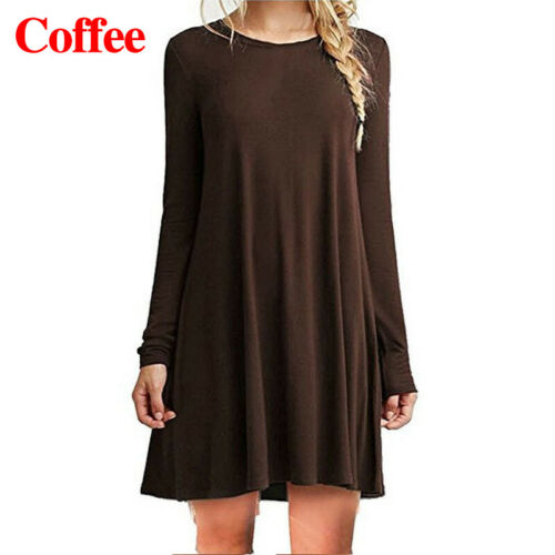Women Loose Long Sleeve Crew Neck Pleated Pullover Tops T-Shirt Slim Dress