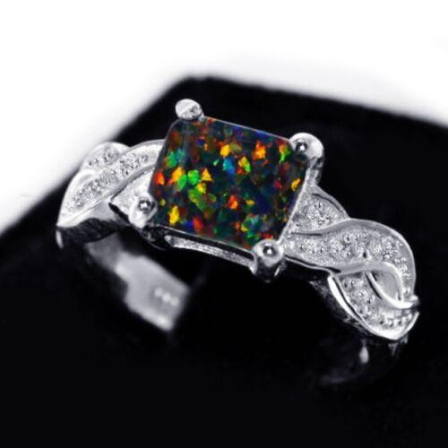 Infinity Celtic Princess Cut Black Fire Opal Birthstone Sterling Silver Ring