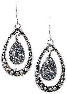 Shimmery Silver Glitter Teardrop Fish Hook Dangle Oval Earrings Jewelry NEW 25-4