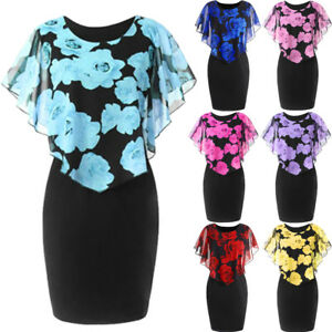 Plus-Size-XL-5XL-Women-Party-Overlay-Dress-Rose-Print-Chiffon-Ruffles-Dresses-AU