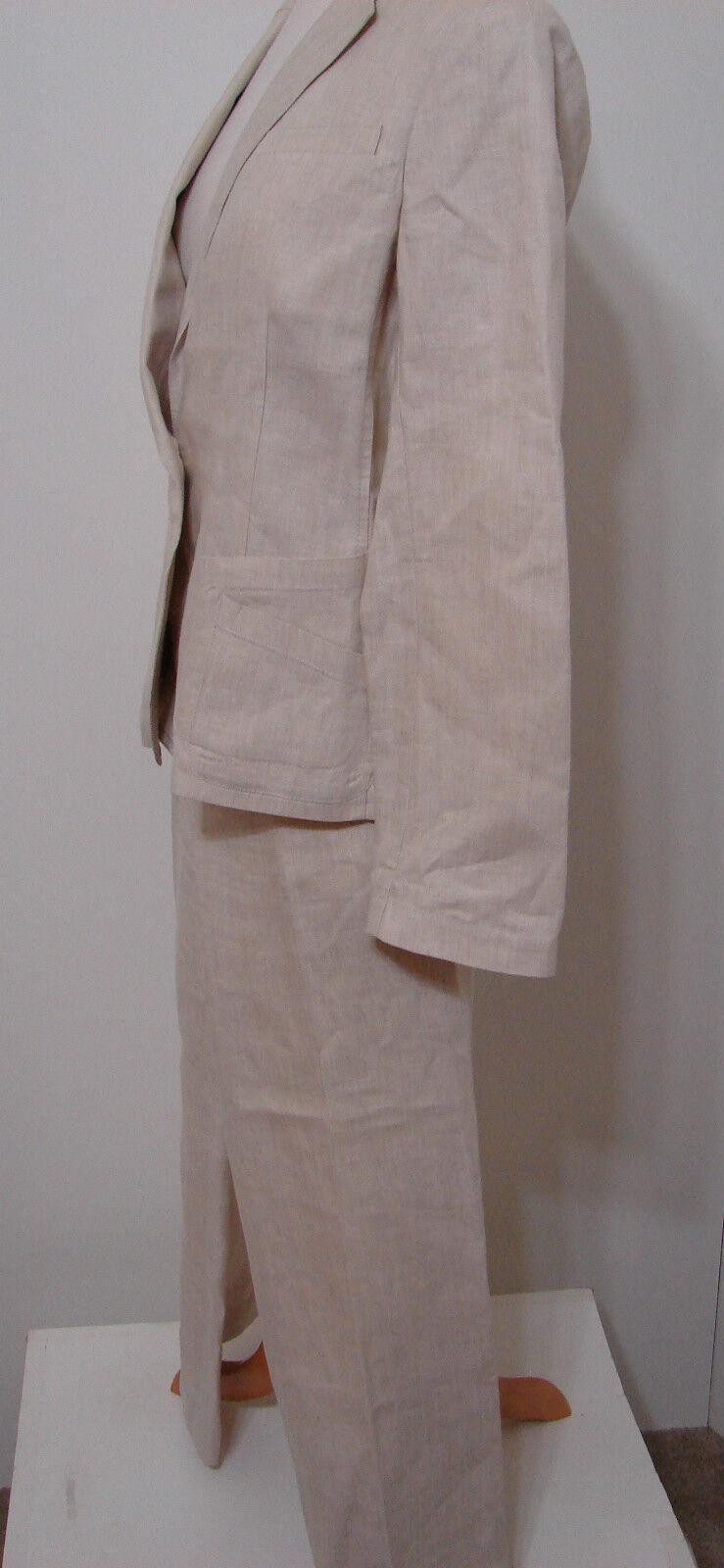 Donna Karan DKNY Pant Suit & Jacket Cream 100% Li… - image 5