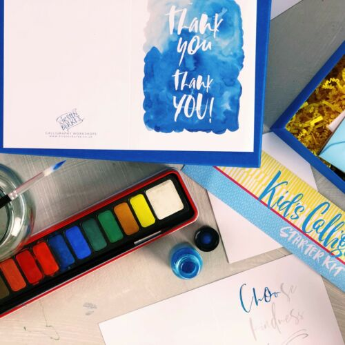 Kids Brush Lettering Calligraphy Kit Beginners Starter Gift Set by Kirsten Burke