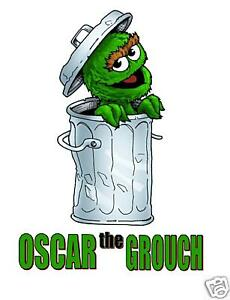"""Oscar the Grouch Iron On Transfer 5/"""" x 7.75/"""" for LIGHT Colored Fabric"""
