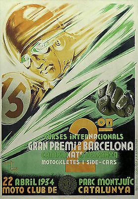 Vintage Barcelona Motorbike Grand Prix 1934 Poster repro.#1