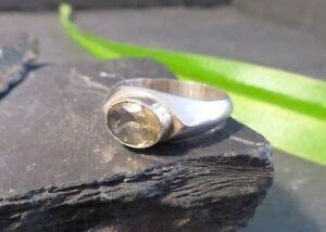 Eleganter-925-Sterling-Silber-Ring-Gelber-Stein-Oval-Facettiert-Modern-Designer