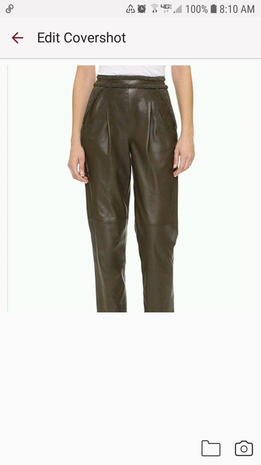 NWTRachel Zoe Nora army cropped leather pants sz 4 genuine lambskin GORGEOUS