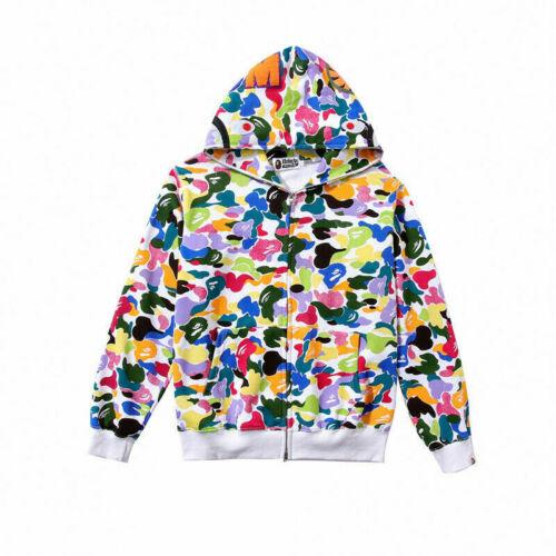 Men/'s A Bathing Ape Bape Plush Casual Hooded Jacket Coat Candy Camo Sweater Top
