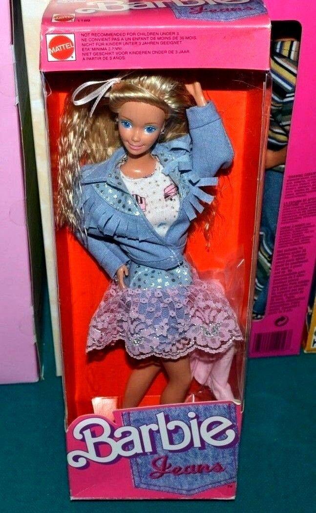 Nuevo En Caja-Muy Raro    Muñeca Barbie Jeans Look 1988-rosado acentos de encaje-Joyas De Plata