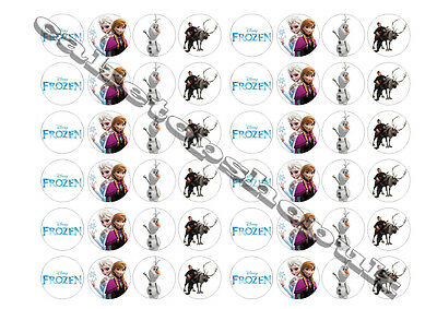 48 Frozen cake toppers 30mm Printed on premium rice paper