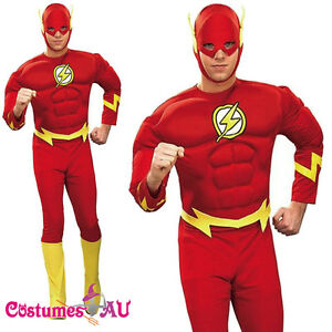 Image is loading Mens-The-Flash-Costume-Muscle-Chest-Justice-League-  sc 1 st  eBay & Mens The Flash Costume Muscle Chest Justice League DC Comics Adults ...