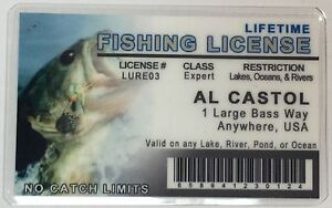 lifetime fishing license al castol novelty funny ebay