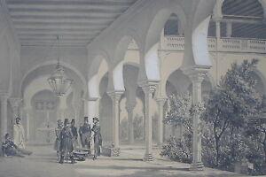 PALACIO-DEL-BEY-CONSTANTINA-ARGELIA-NEMOURS-LITOGRAF-A-ORIGINAL-BAYOT-s-XIX