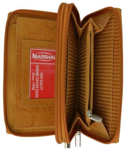 Genuine Leather Checkbook Secretary Wallet 2 Zipper Clutch Credit Card Organizer