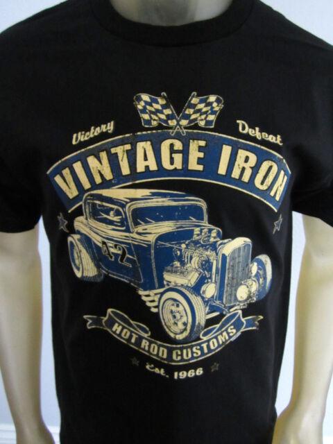 Vintage Iron Hot Rod racing Muscle car tee shirt men's black choose your size