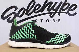 sports shoes 67cd8 774da Image is loading NIKE-FREE-INNEVA-WOVEN-POISON-GREEN-BLACK-SAIL-