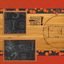 Premade-Double Page-Scrapbook Layouts- Basketball Court - 1
