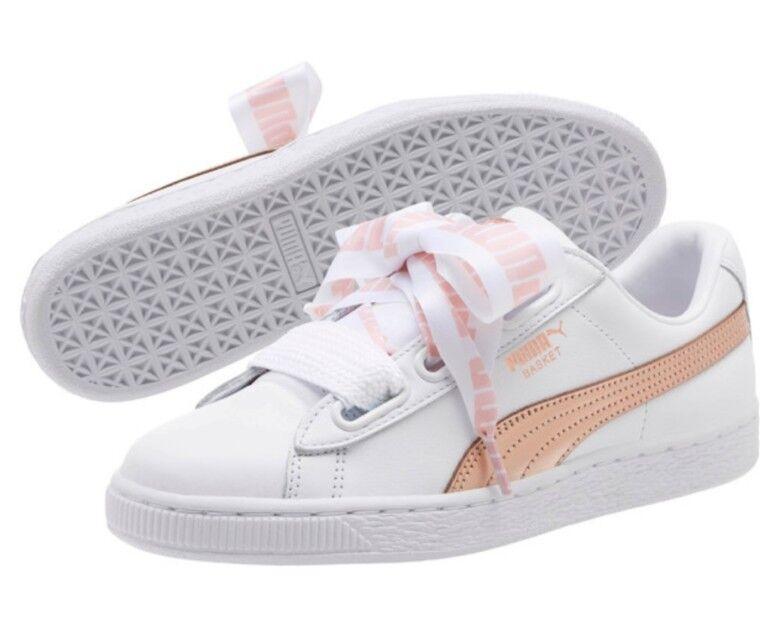 Puma Basket Basket Basket Heart Metallic Girls Ladies Size UK 4   367767 01 0f8642