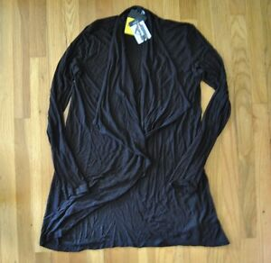 NWT-Womens-COMPANY-ELLEN-TRACY-Black-Buttonless-Cardigan-Size-S-Small