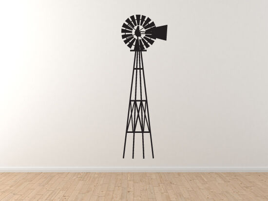 Farm  5 - Antique Old Style Windmill ElectriStadt Grain - Vinyl Wand Decal Kunst