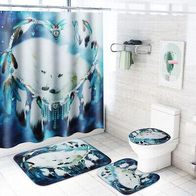 180x180cm Bathroom Bamboo Waterfall Shower Curtain 12 Hooks Toliet Mat Rug