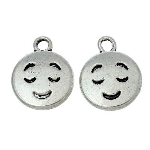 Tibetan Silver Emoji Smile Face Charms qty 20 Pendants