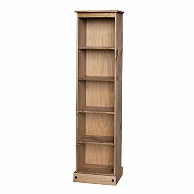 Corona Tall Narrow Bookcase Large Display Mexican Pine by Mercers Furniture
