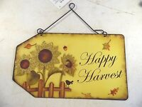 Metal Happy Harvest Sunflowers Acorn Bird Fall Leaves Wreath Decoration Sign
