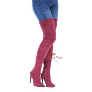 High Heels Overknee Stiefel Weinrot 10 - 12 cm Absatz Alcantara EU 36 - 47
