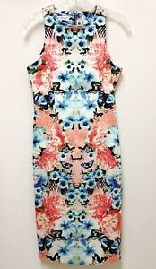 Maggy-London-Womens-Size-6-Colorful-Floral-Bodycon-Sleeveless-Dress-Midi-Stretch