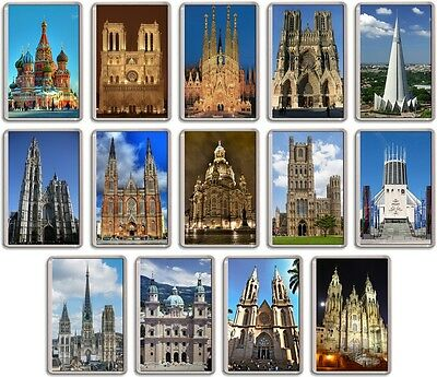 FRIDGE MAGNET - WORLD CATHEDRALS - (Various Designs) - Large Church Christian