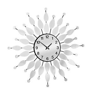 60cm-Dia-Small-Mirrored-Petal-Wall-Clock-Black-Premier-Housewares-Design